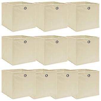 vidaXL Aufbewahrungsboxen 10 Stk. Creme 32x32x32 cm Stoff