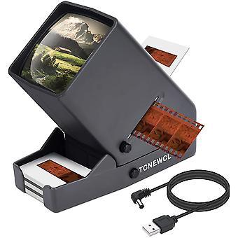 Wokex 35mm Diaprojektor,USB tragbares Negatiy mit LED Beleuchtung, auf dem Schreibtisch - 3-fache