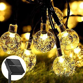 FengChun 3.5M 30er LED Solar und Batterie Lichterkette, 8 Modi IP65 Wasserdicht Kugel Lichterketten,