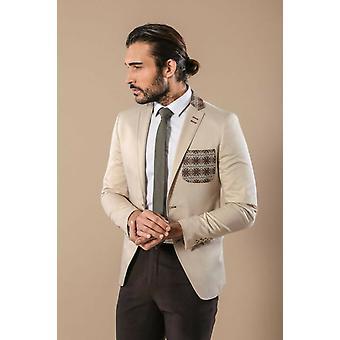 Chest pocket and collar modeled cotton cream blazer