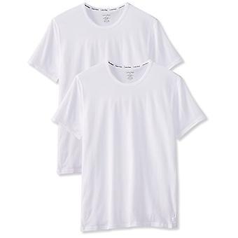 Calvin Klein 2P S/S Crew Neck T-Shirt, White 100, Medium Men's