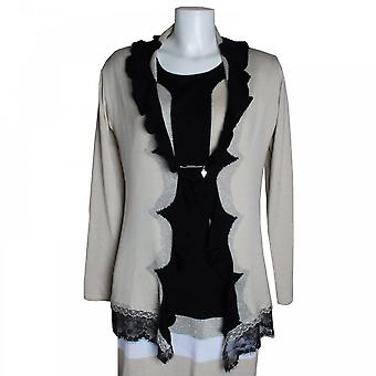 Latte Lace Trim Frill Collar Knitted Cardigan