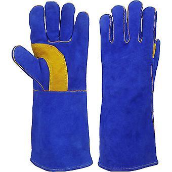 Schweißerhandschuhe Reines Leder Grillhandschuh 900° C für Schweißer Aufwärmen MIG BBQ Handschuhe