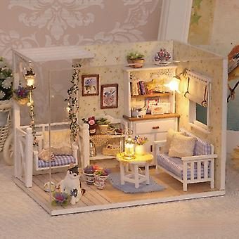 Wooden dollhouse miniature diy house kit with lid and led lamp cat diary