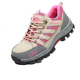 女性の安全作業靴スチールつま先とスチールソール、通気性軽量