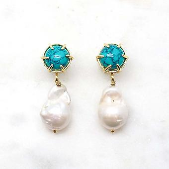 Niiki Paris earrings - NCE080 - White/Turquoise - Colors Collection
