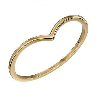 Elements Gold V Shape Band Yellow Gold Ring GR588