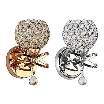 2шт железный изгиб трубки настенный светильник кристалл прикроватная лампа современный домашний декор для спальни гостиной (золотой + серебристый, без лампочки)