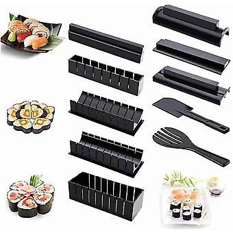 10pcs Sushi Making Kit Kitchen Restaurant Diy Sushi Mold Black