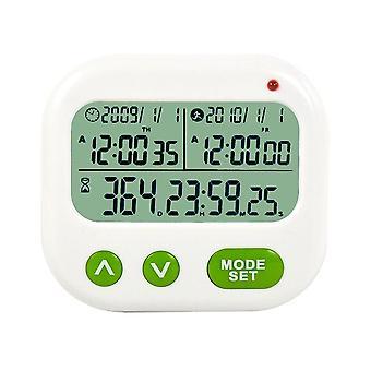 جهاز توقيت المنبه الحدث تذكير اليوم LCD المطبخ الرقمي العد التنازلي المنبه المغناطيس ساعة (أبيض)