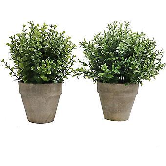 2er Set Pflanzen Künstlich Blumen Gras Kunstpflanze Bonsai Mini mit Topf Klein,Ideal für Tischdeko
