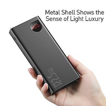 Black power bank 20000mAh carregador portátil de bateria Tipo C USB carregador rápido para iPhone Huawei