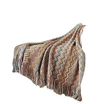 Swotgdoby Textured Knitted Bohemian Blanket With Tassels - Super Soft Blanket