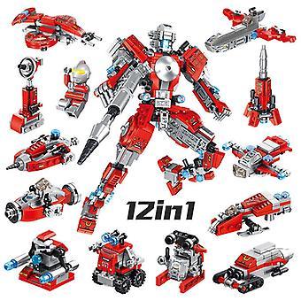 12in1 Byggstenar Set robot Pedagogiska leksaker Mini bil Leksaker Lastbilar leksaker Julklappar till barn