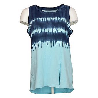 Modern Soul Women's Top Tie-Dye Tank with Front Slit Blue 689511