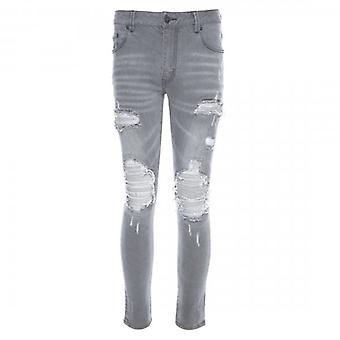 Amicci Perlo Skinny Fit Stretch Washed Light Grey Denim Rip & Repaired Jeans
