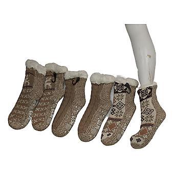 Muk Luks Women's 3 Pack Printed Cabin Sox Beige Socks 673629
