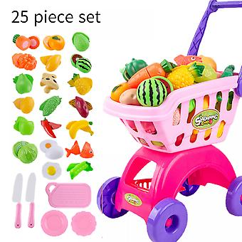 Children's Shopping Cart Large Play House Toy Supermarket Trolley, Ideal Gift Toy For Girls