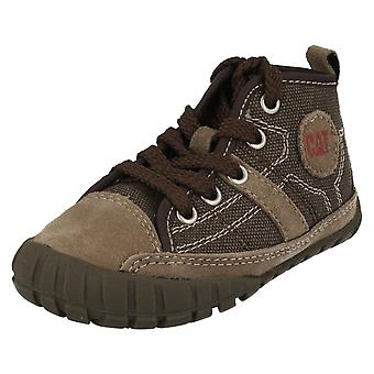 Boys CAT Casual Lace Up Mid Cut Boots Lingo Canvas