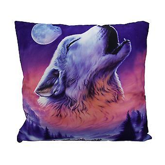 Ночь вой зимних Вольф головы Рубин на Луне бросить подушки 17 дюймов
