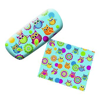 Unique Owl Lovers Eyeglass Reading Glasses Case and Lens Cloth