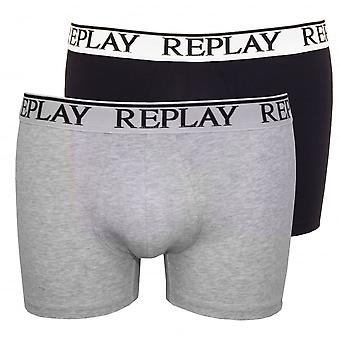 Replay-2er-Pack Classic Logo Boxer Trunks, Marine/grau