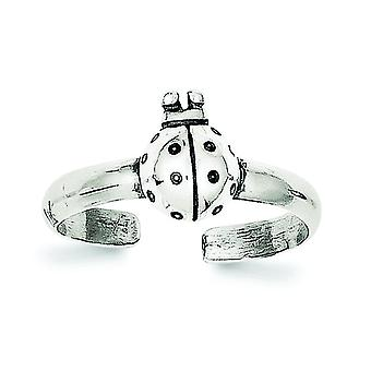925 Sterling Silver Solid finish Ladybug Toe Ring Jewelry Gifts for Women