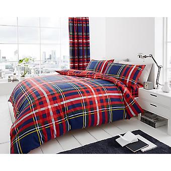 Newton Tartan Check Polycotton Printed Duvet Quit Cover Bedding Set All Sizes