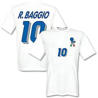 Roberto Baggio Taliansko 1994 preč T-shirt (biela)