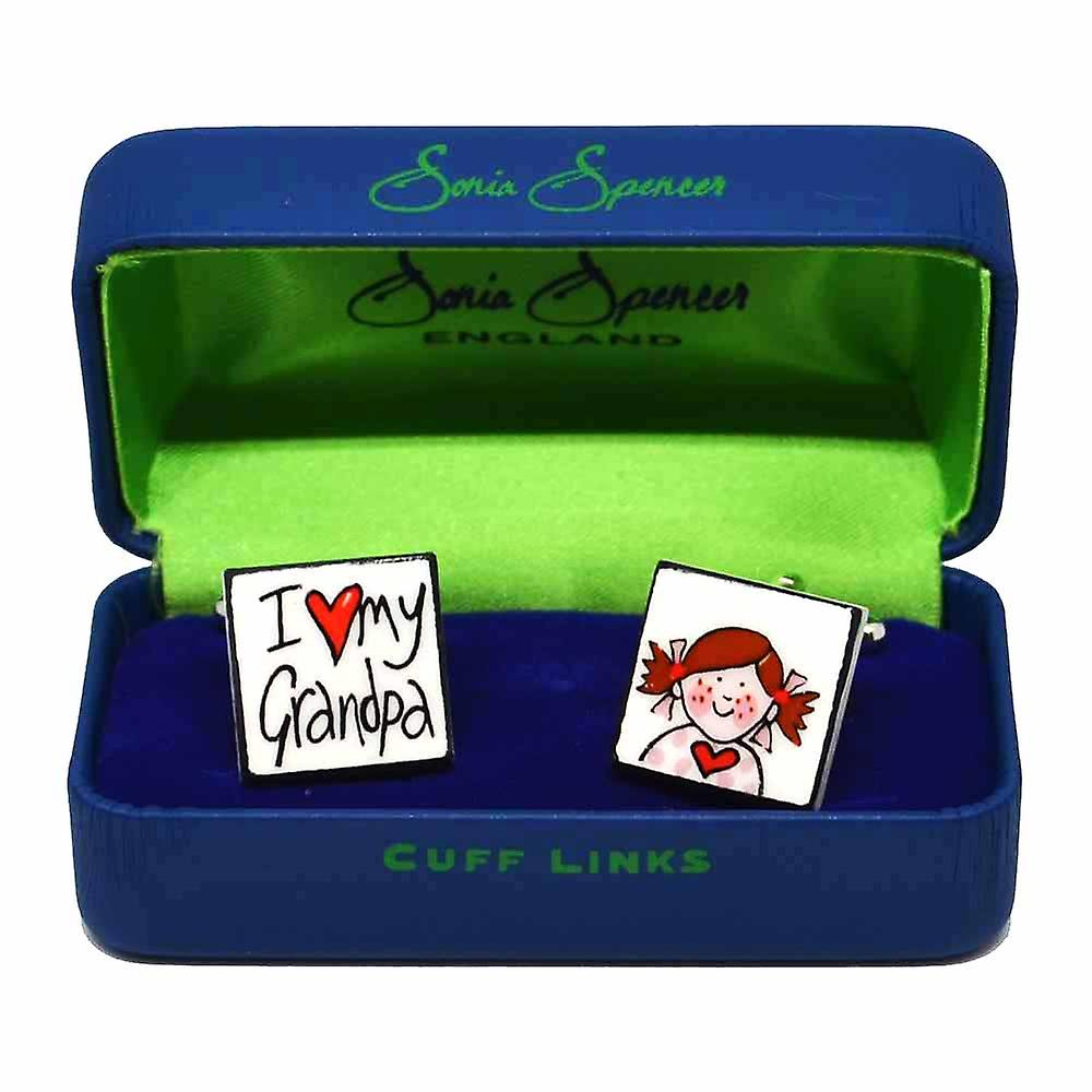 I Love My Grandpa - Girl Cufflinks by Sonia Spencer, in Presentation Gift Box. Hand painted