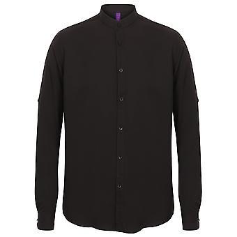 Henbury Mens Mandarijn Shirt met Roll-Tab hoesjes