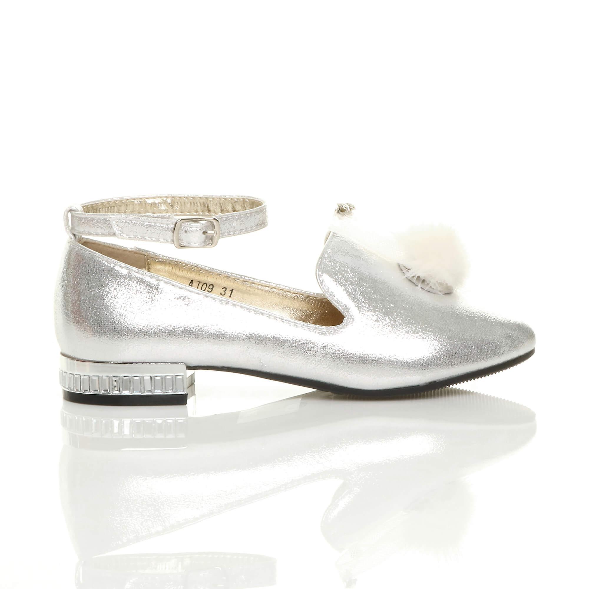 Ajvani piger ankel rem glitter glitre pom pom hyttesko fest sko ballerinaer
