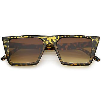 Retro Flat Top Square zonnebril neutraal gekleurde vlakke Lens 52mm