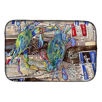 Blaue mürrische Flaschen Barqs Rootbeer Gericht trocknende Matte