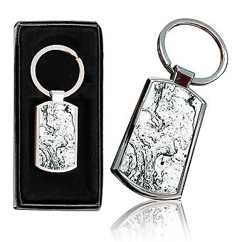 i-Tronixs - Premium Marble Design Chrome Metal Keyring with Free Gift Box (3-Pack) - 0020