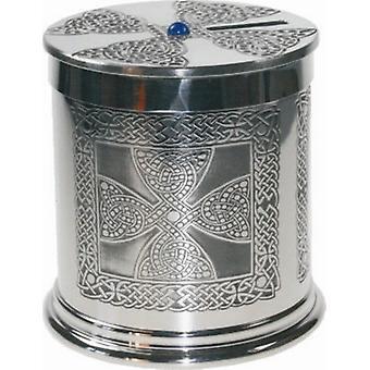 Celtic Cross Pewter Money Box