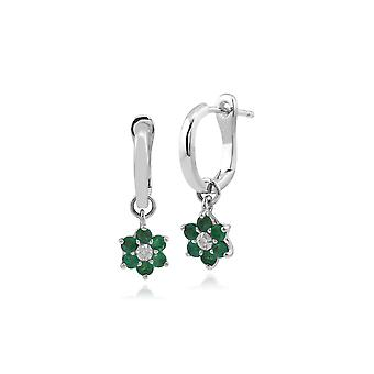 Floral Round Emerald & Diamond Omega Back Hoop Earrings in 9ct White Gold 162E023901
