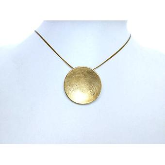 Silver necklace with pendant Disc Necklace gold plated shell jewelry wire gold plated