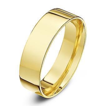 Anéis de casamento estrela 18 quilates amarelo ouro luz Flat tribunal forma 6mm anel de casamento