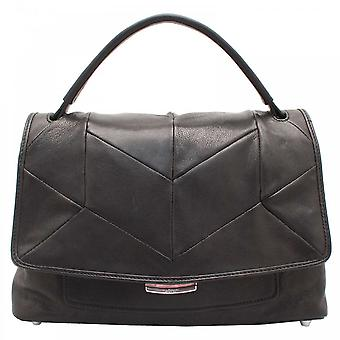 Abro Black Leather Patchwork Design Handbag