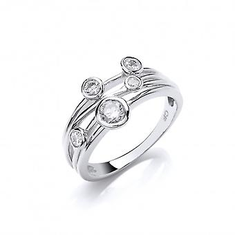 Cavendish French Cubic Zirconia Studded Silver Strand Ring