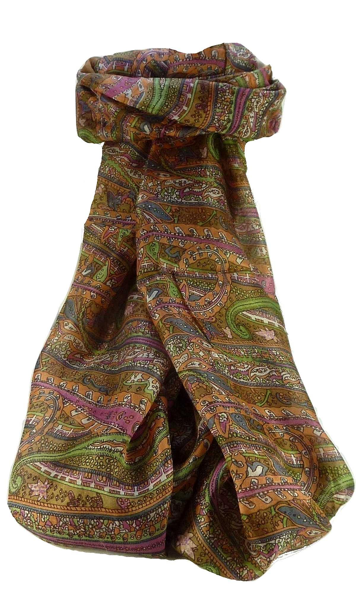 Mulberry Silk Traditional Long Scarf Gosthani Chestnut by Pashmina & Silk