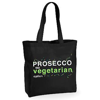 Prosecco The Vegetarian Option Black Cotton Shopping Bag