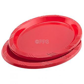 6 板プラスチック楕円形赤 26 cm 使い捨てパーティー ピクニック プレートのパック