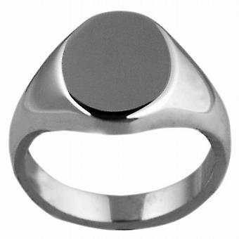 18ct White Gold 13x10mm solid plain oval Signet Ring Size W