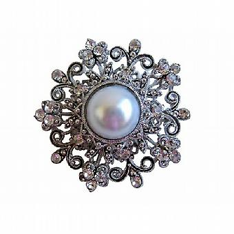 Designer Victorian Round Brooch White Pearl with Simulated Diamond