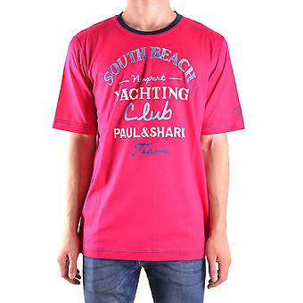 Paul & Shark Ezbc042015 Men's Fuchsia Cotton T-shirt