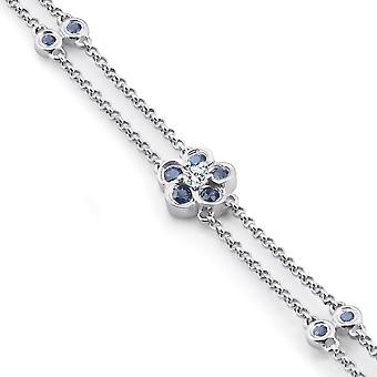 F/VS .91CT runde Diamond & blå safir armbånd 18K hvidguld 7