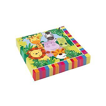 ג ' ונגל חיות מסיבה מפיות 33x33 ס מ 20 הרפתקאות ספארי חתיכת יום הולדת לילדים