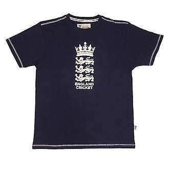ECB England Cricket Mens Large Logo T-Shirt | Navy